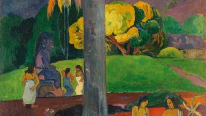 """<p>El <a title=""""Minuteca del museo Thyssen-Bornemisza"""" href=""""http://www.20minutos.es/minuteca/thyssen-bornemisza/"""" target=""""_blank"""">Museo Thyssen-Bornemisza</a> celebra su veinte aniversario con una ambiciosa exposición dedicada a Gauguin, uno de sus artistas más representativos, en la que se exhiben ciento once obras cedidas por museos y colecciones de todo el mundo. En la imagen, el óleo <em>Mata Mua (Érase una vez)</em>, de 1899.</p>"""