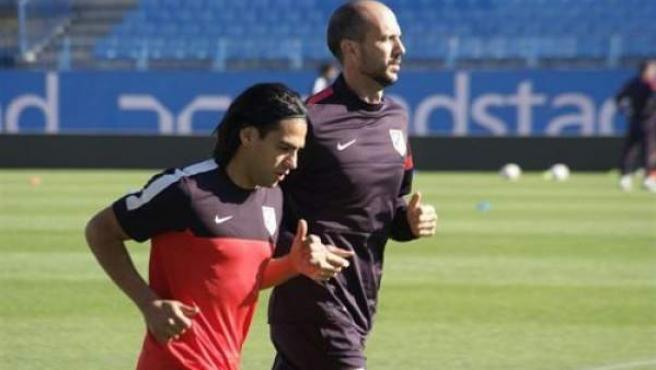 El delantero colombiano del Atlético de Madrid, Radamel Falcao, durante un entrenamiento.