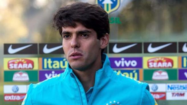 Kaka tras un entrenamiento con Brasil.