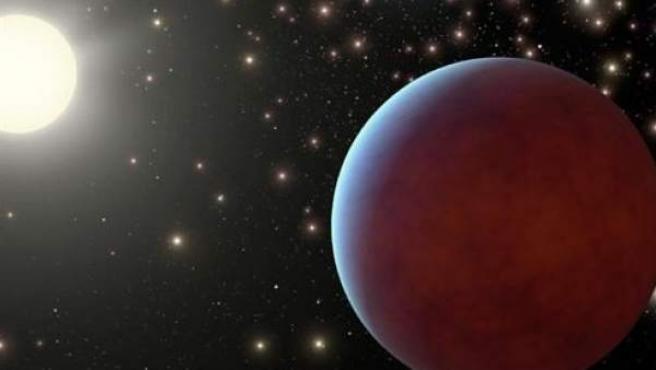 Un planeta orbitando alrededor de una estrella.