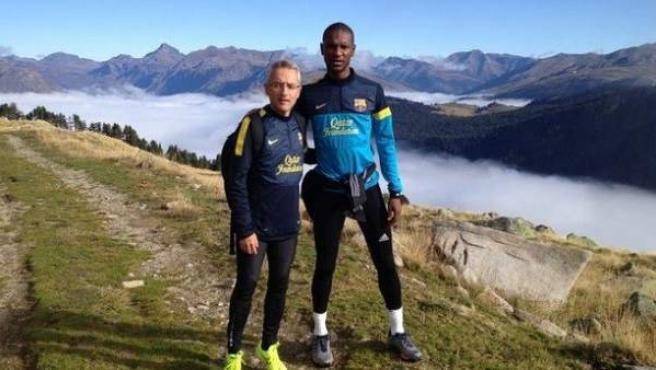 Eric Abidal junto a Emili Ricart en el Val d'Aran.
