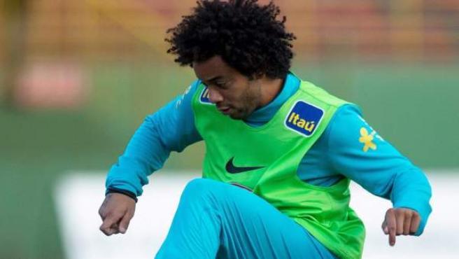 El lateral izquierdo del Real Madrid, Marcelo, durante un entrenamiento con Brasil.