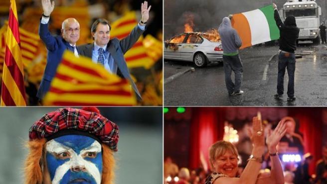 Cataluña, Irlanda del Norte, Escocia y Flandes, cuatro ejemplos de nacionalismos independentistas en Europa.