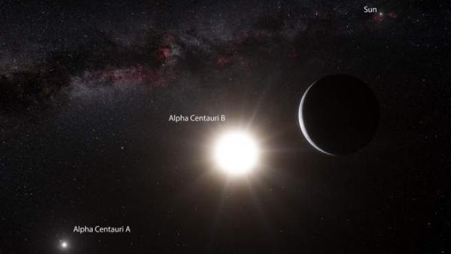 Impresión artística sin fechar, cedida por el Observatorio Europeo Austral que muestra al planeta que orbita a la estrella Alfa Centauri B. Alfa Centauri B es el objeto más brillante en el cielo y el otro objeto que resplandece es Alfa Centauri A.