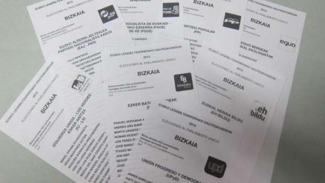 Papeletas de voto de los principales partidos vascos