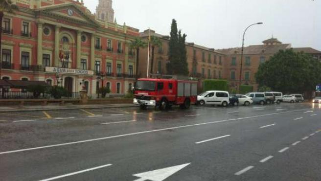 Fuertes lluvias en la capital murciana