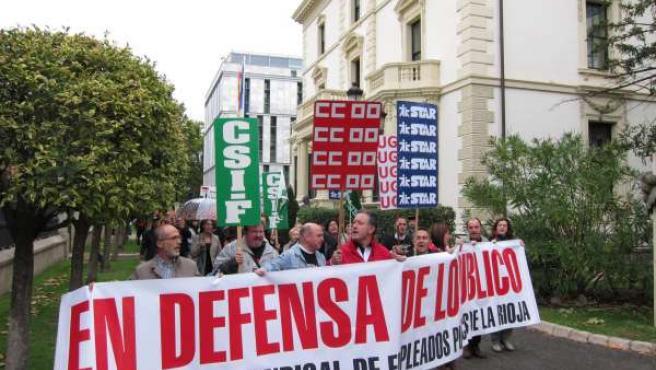 Manifestación empleados públicos en el Palacio de Gobierno