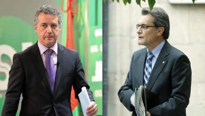 El líder del PNV, Iñigo Urkullu, y el presidente de la Generalitat, Artur Mas.