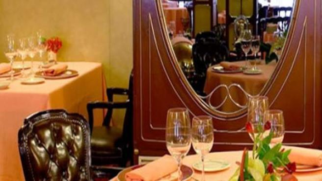 Detalle de uno de los comedores del restaurante barcelonés.