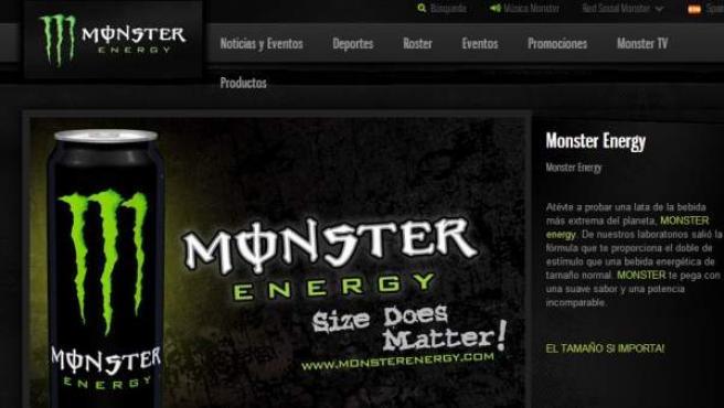 Imagen de la web de la bebida energética Monster.
