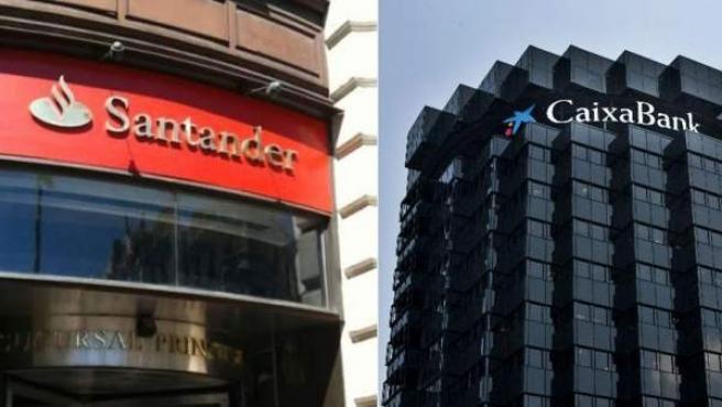 De izquierda a derecha y de arriba a abajo, el BBVA, el Banco Popular, el Banco Santander y Caixabank.