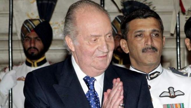 El Rey Juan Carlos I, durante su visita a la India.
