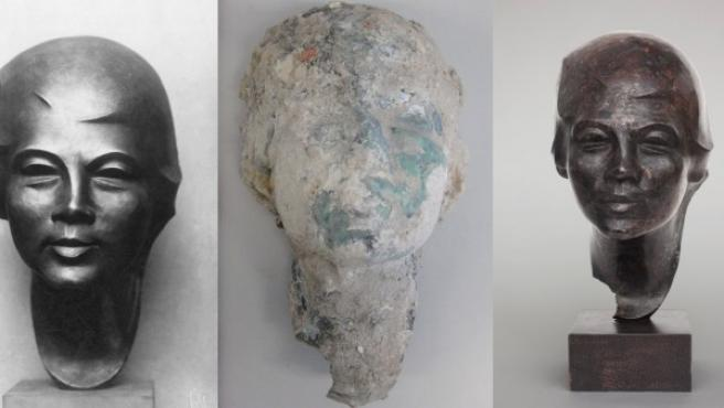 Cabeza de bronce de la actriz Anni Mewes, de Edwin Scharff (1887-1955). Desde la izquierda, en su estado original, tal como fue encontrada entre los escombros y tras la restauración