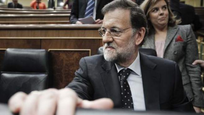 El presidente del Gobierno, Mariano Rajoy, al inicio del debate de los Presupuestos Generales del Estado para 2013 en el Congreso de los Diputados.