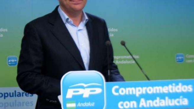 El secretario general del PP-A, José Luis Sanz, en rueda de prensa hoy