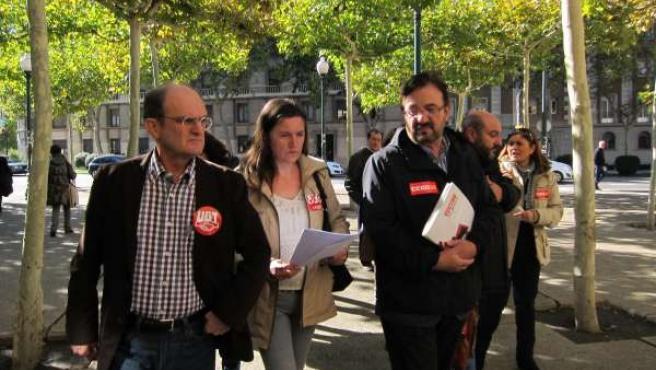 El secretario de UGT-Aragón, la representante de USO y el secretario de CCOO Ara