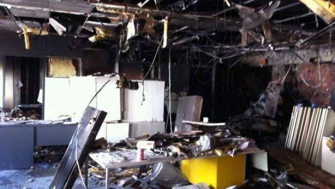 Interior del Ayuntamiento de León incendiado