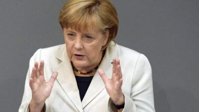 La canciller alemana, Angela Merkel, en el Bundestag en Berlín (Alemania).