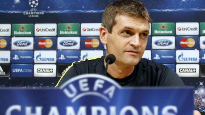 Tito Vilanova, entrenador del FC Barcelona, en rueda de prensa en la Champions.