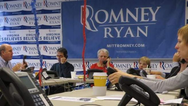 Sede de la campaña de Mitt Romney en Arlington, el pasado jueves.