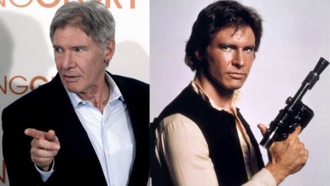 Harrison Ford en la actualidad y caracterizado de Han Solo.