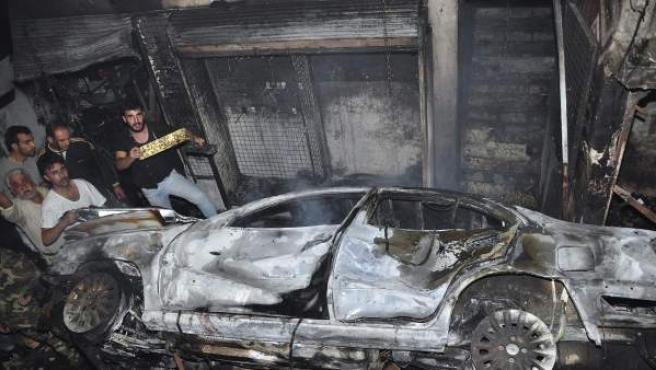 Restos de una explosión en Damasco, Siria.