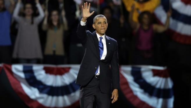 Obama, en el escenario del centro McCormick de Chicago.