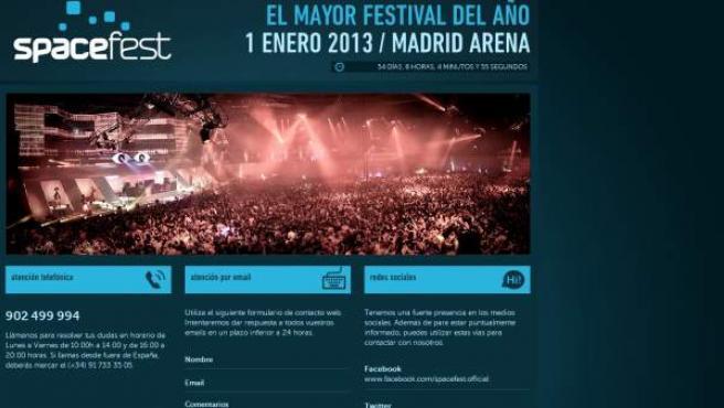 Anuncio del festival de Año Nuevo que aparece en la web de compra online de FSM Group.