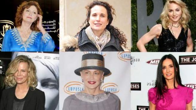 De izquierda a derecha y de arriba a abajo: Susan Sarandon, Andie MacDowell, Madonna, Kim Basinger, Sharon Stone y Demi Moore.