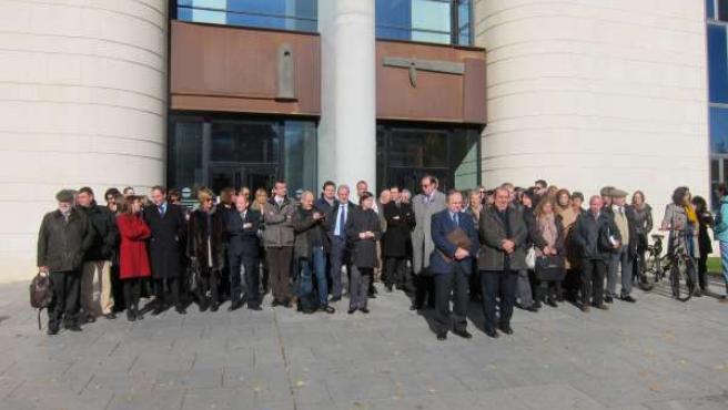 Concentración de abogados en el Palacio de Justicia de Pamplona