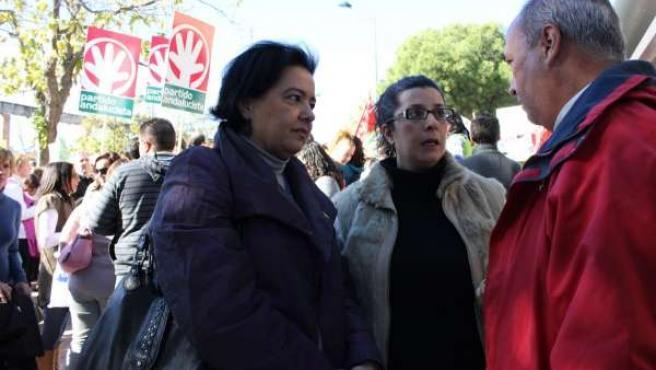 Miembros del PA en un acto de protesta de las guarderías