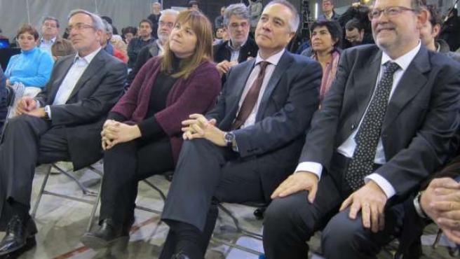 Xavier Sabaté, Núria Ventura, Pere Navarro (PSC) y Ximo Puig (PSPV)