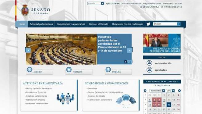 'Home' de la página web del Senado.