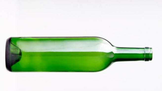 La clásica botella verde de vino.
