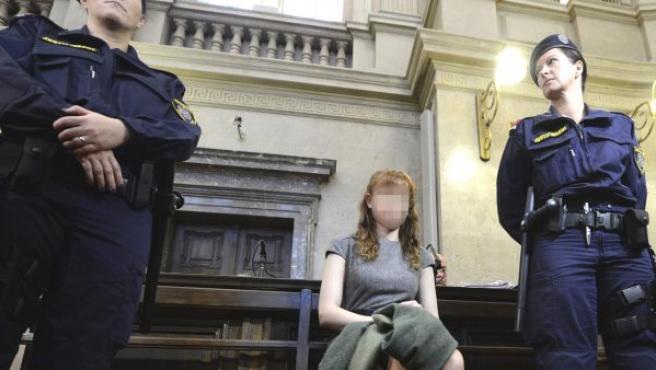 Estibaliz Carranza, durante la vista del veredicto del juicio en el que ha sido condenada a cadena perpetua.