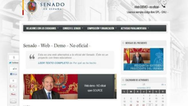 Clon de la página web del Senado hecha a modo de protesta.