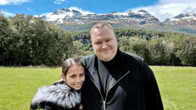 Kim Dotcom, fundador de Megaupload, junto a su esposa.