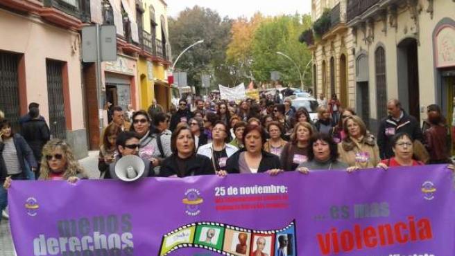 Manifestación Plataforma 8 de marzo contra violencia machista en Sevilla