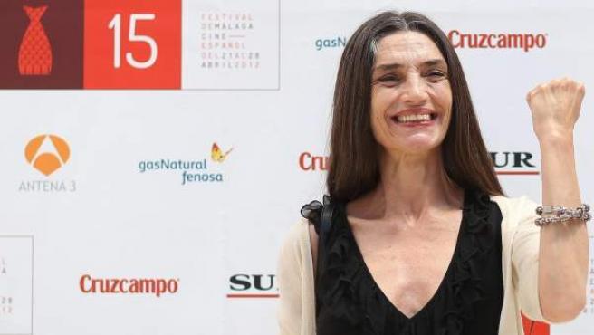 La actriz Ángela Molina durante la sesión de fotos tras presentar la película 'Memoria de mis putas tristes'.