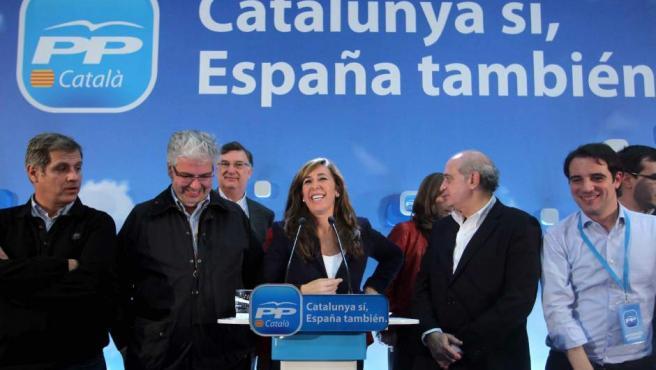 La candidata del PPC, Alicia Sánchez-Camacho, tras conocer el resultado de las elecciones 2012.