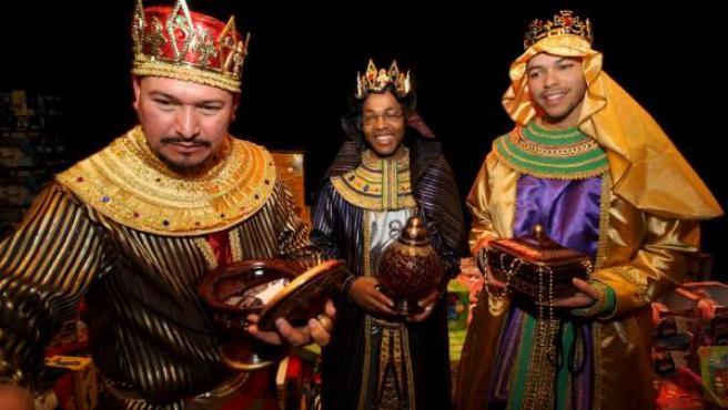 Los tres Reyes Magos: Melchor, Gaspar y Baltasar.