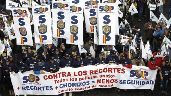Imagen de archivo de la manifestación de unos 5.000 policías en Madrid.