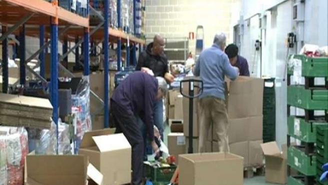 Imagen del almacen del Banco de Alimentos de Bizkaia, en Basauri