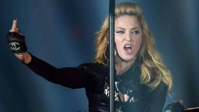 Madonna, durante su concierto de junio 2012 en Berlín (Alemania) como parte de su gira mundial MDNA.