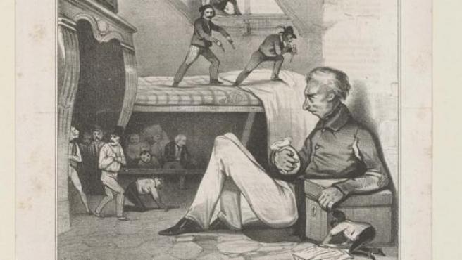'El avaro', una litografía de 1833 de la serie 'La imaginación'