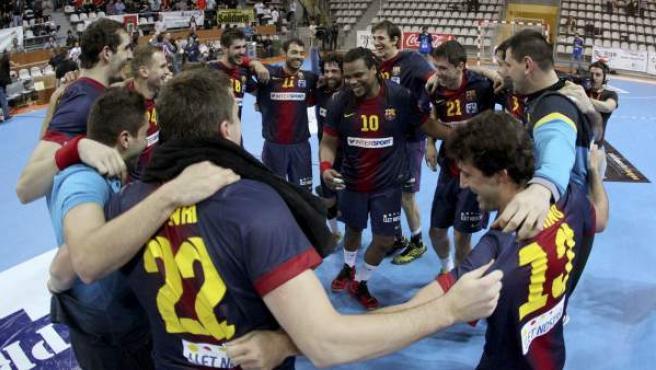 El Barcelona Intersport celebra la Copa Asobal.