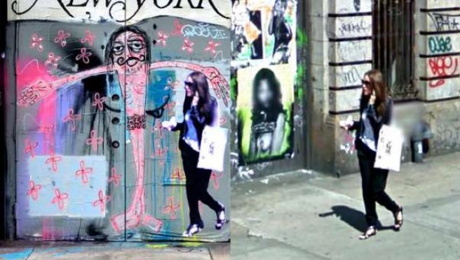 Cartel y captura original de Google Street View del número 214 de la calle Lafayette en Nueva York