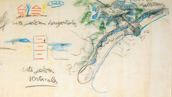 Proyecto de plan urbano para Argel, bosquejado por Le Corbusier en este dibujo a pastel de 1935