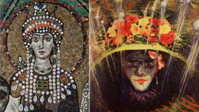 Mosaico bizantino de la emperatriz Teodora, 'El ídolo moderno' (1911) de Boccioni y detalle de la emperatriz Teodora en un mural de Galileo Chini