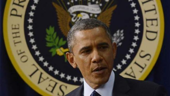 """El presidente estadounidense, Barack Obama, antes de un discurso sobre el """"abismo fiscal"""" en la Casa Blanca en Washington (EE.UU.) el lunes 31 de diciembre de 2012."""